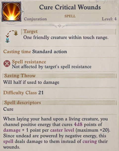 Cure Wounds Spell Sosiel Pathfinder Wrath of the Righteous Build