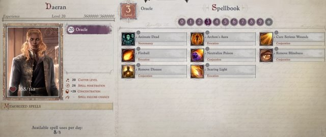 Daeran's Spellbook as a Spontaneous Caster Daeran Pathfinder Wrath of the Righteous Build