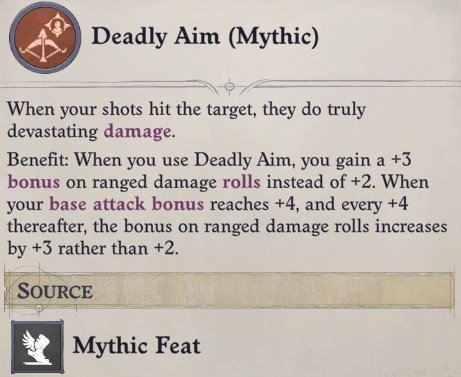 Deadly Aim (Mythic) Mythic Feat Arueshalae Pathfinder Wrath of the Righteous Build