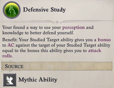 Defensive Study Mythic Ability Greybor Pathfinder Wrath of the Righteous Build