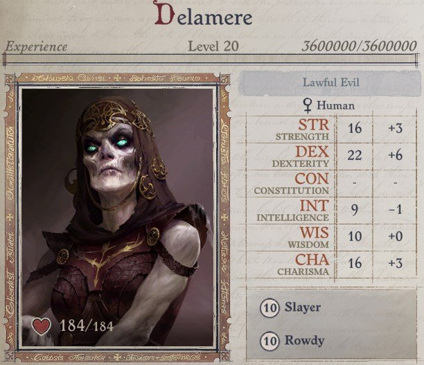 Delamere Attributes at Level 20 Delamere Pathfinder Wrath of the Righteous Build
