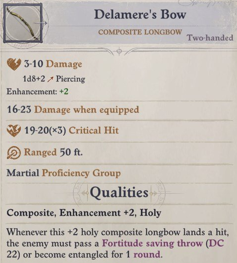 Delamere's Bow Delamere Pathfinder Wrath of the Righteous Build