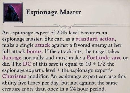 Espionage Master Ability Arueshalae Pathfinder Wrath of the Righteous Build
