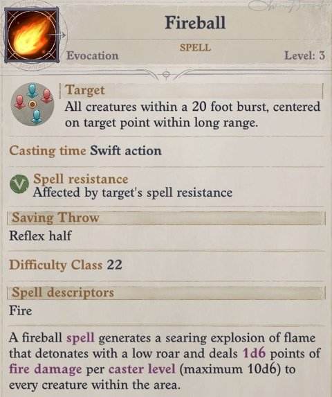 Fireball Spell Nenio Build Pathfinder Wrath of the Righteous Guide