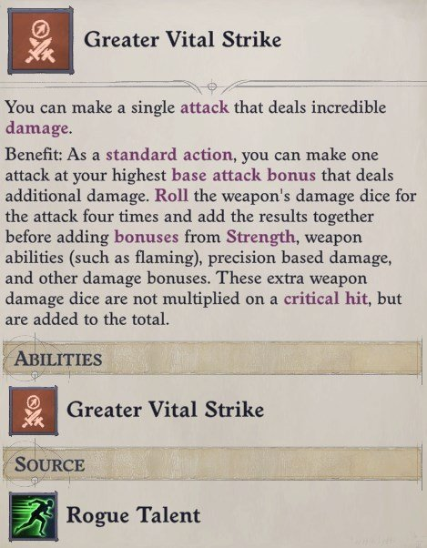 Greater Vital Strike Combat Trick Feat Delamere Pathfinder Wrath of the Righteous Build