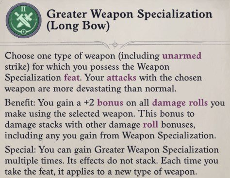 Greater Weapon Specialization Feat Eldritch Archer Magus Pathfinder Wrath of the Righteous Build