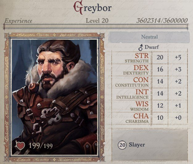 Greybor Attributes at Level 20 Greybor Pathfinder Wrath of the Righteous Build