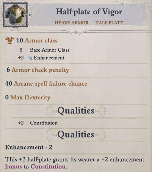 Half-plate of Vigor Heavy Armor for Wenduag Wenduag Companion Build Pathfinder WotR