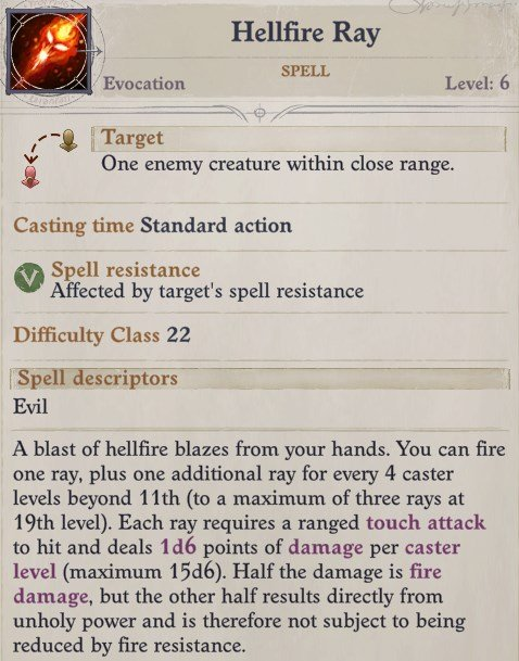 Hellfire Ray Spell Eldritch Archer Magus Pathfinder Wrath of the Righteous Build