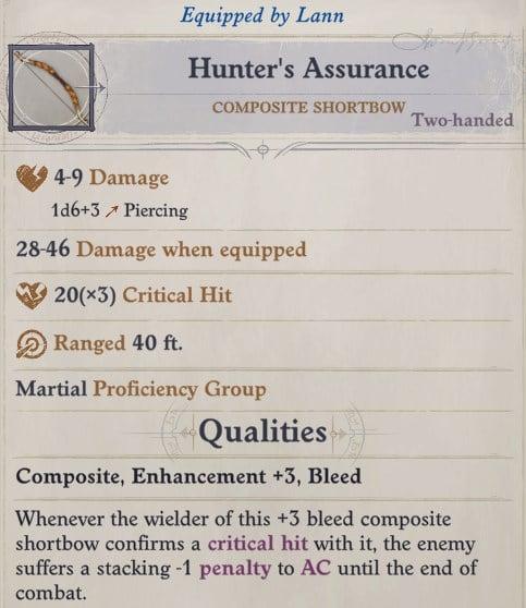 Hunter's Assurance Composite Shortbow Lann Companion Build Pathfinder WotR