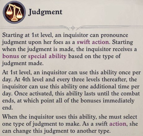 Judgment Ability Faith Hunter Inquisitor Pathfinder Wrath of the Righteous Build