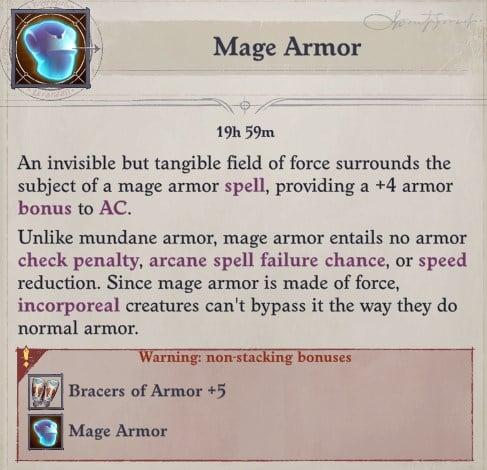 Mage Armor Non-Stacking Bonus Nenio Build Pathfinder Wrath of the Righteous Guide