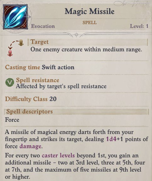 Magic Missile Spell Nenio Build Pathfinder Wrath of the Righteous Guide