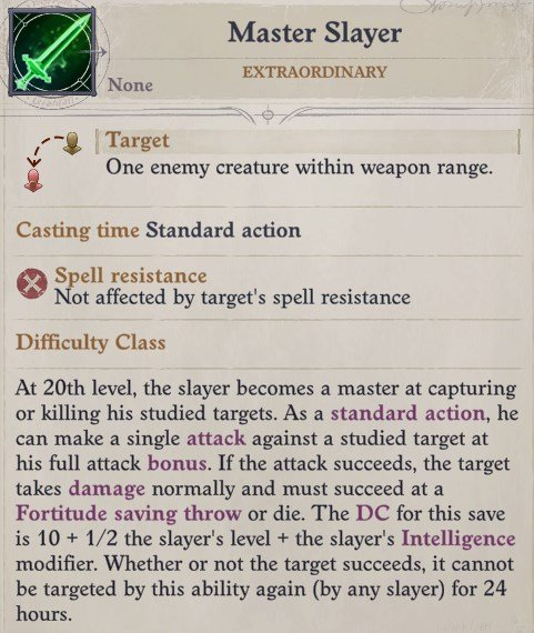 Master Slayer Ability Greybor Pathfinder Wrath of the Righteous Build