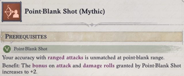 Point-Blank Shot (Mythic) Mythic Feat Faith Hunter Inquisitor Pathfinder Wrath of the Righteous Build