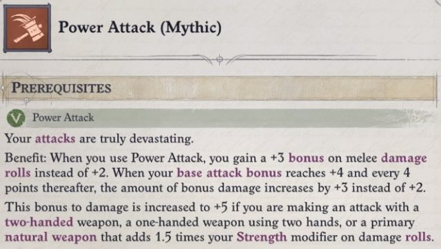 Power Attack (Mythic) Mythic Feat Greybor Pathfinder Wrath of the Righteous Build