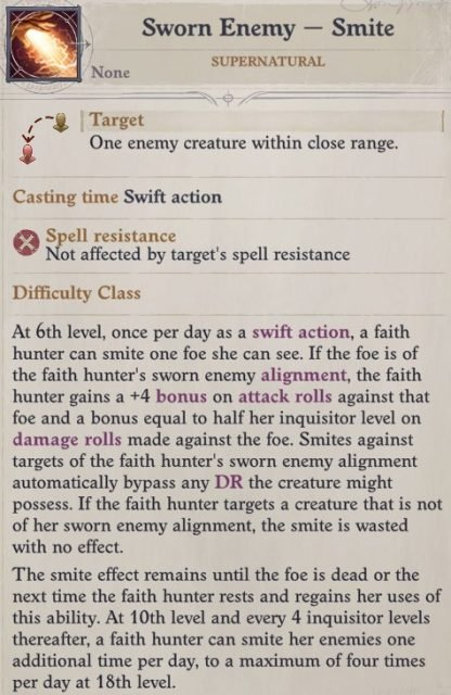 Sworn Enemy - Smite Ability Faith Hunter Inquisitor Pathfinder Wrath of the Righteous Build