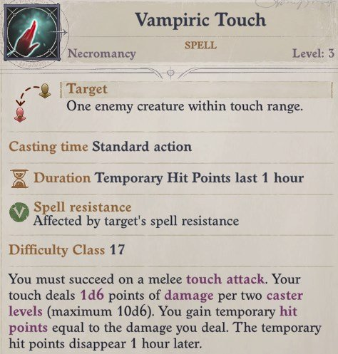 Vampiric Touch Spell Primalist Bloodrager Pathfinder Wrath of the Righteous Build