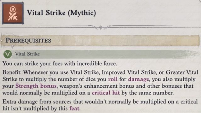 Vital Strike (Mythic) Mythic Feat Delamere Pathfinder Wrath of the Righteous Build