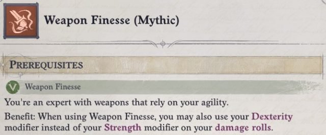 Weapon Finesse (Mythic) Mythic Feat Regill Pathfinder Wrath of the Righteous Build