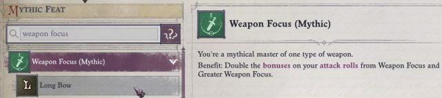 Weapon Focus (Mythic) Mythic Feat Lann Companion Build Pathfinder WotR