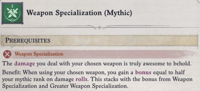 Weapon Specialization (Mythic) Wenduag Companion Build Pathfinder WotR
