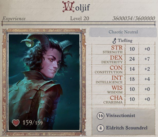 Woljif Attributes at Level 20 Woljif Pathfinder Wrath of the Righteous Build