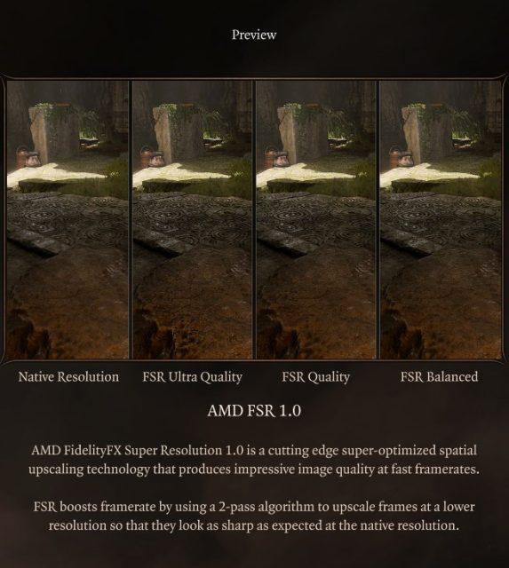 AMD FSR Baldur's Gate 3 Patch 6