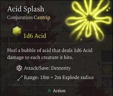 Acid Splash Spell Baldur's Gate 3 Builds Sorcerer Class Guide