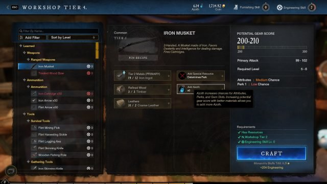 Adding Azoth in Crafting New World Gold Guide How to Farm Gold As A Beginner
