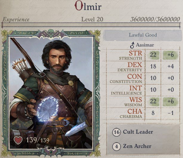 Attributes at Level 20 Cult Leader Warpriest Pathfinder Wrath Of The Righteous Build