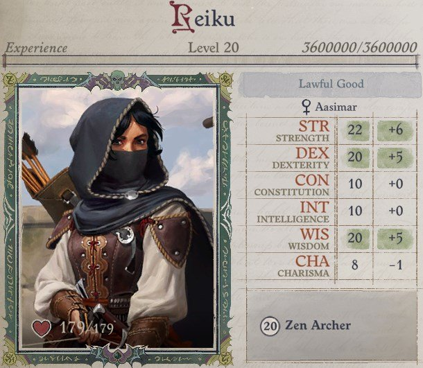 Attributes at Level 20 Zen Archer Monk Pathfinder Wrath of the Righteous Build