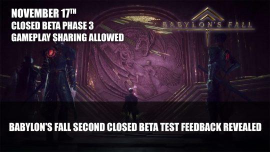 Babylon's Fall Second Closed Beta Test Feedback Revealed; Phase 3 Set for November