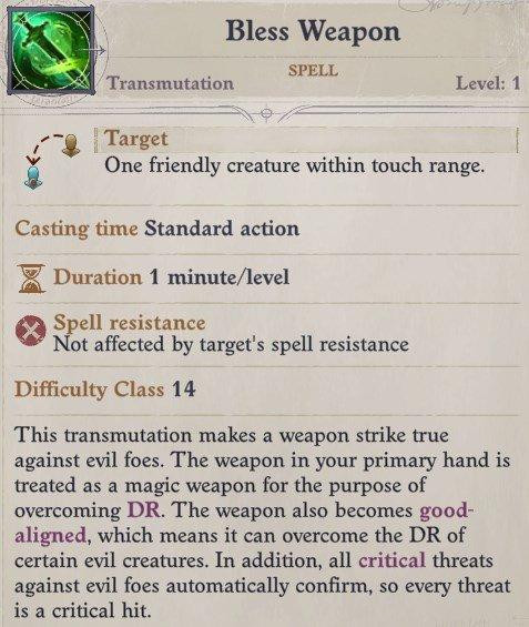 Bless Weapon Spell Ki Power Quivering Palm Zen Archer Monk Pathfinder Wrath of the Righteous Build