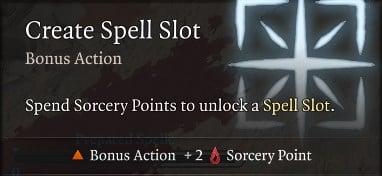 Create Spell Slot Flexible Casting Baldur's Gate 3 Builds Sorcerer Class Guide