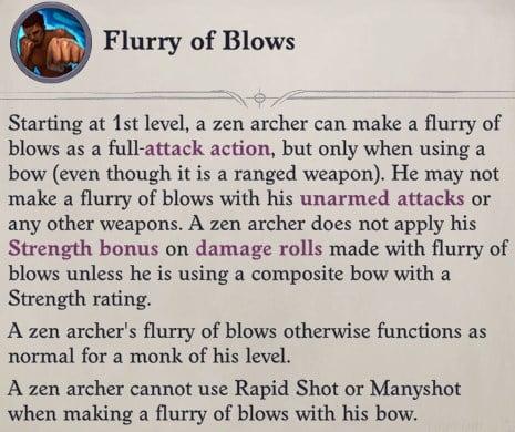 Flurry of Blows Class Feature Zen Archer Monk Pathfinder Wrath of the Righteous Build