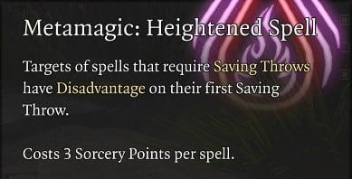 Metamagic Heightened Spell Baldur's Gate 3 Builds Sorcerer Class Guide