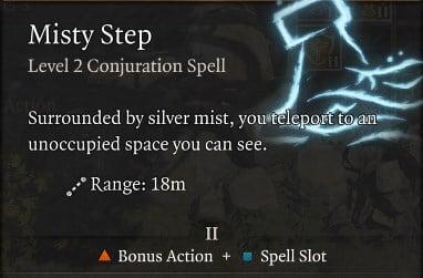 Misty Step Spell Baldur's Gate 3 Builds Sorcerer Class Guide