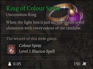 Ring of Colour Spray Baldur's Gate 3 Builds Sorcerer Class Guide