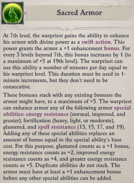 Sacred Armor Ability Cult Leader Warpriest Pathfinder Wrath Of The Righteous Build