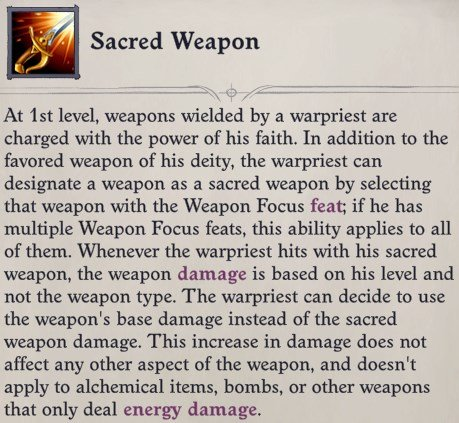 Sacred Weapon Ability Cult Leader Warpriest Pathfinder Wrath Of The Righteous Build