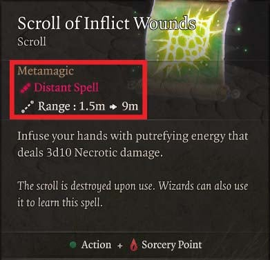 Scroll of Inflict Wounds Baldur's Gate 3 Builds Sorcerer Class Guide