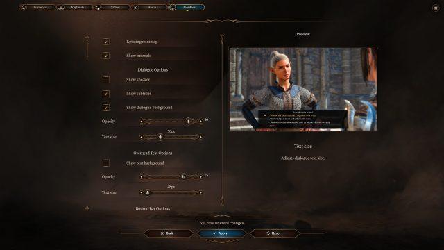 UI Dialogue Font Size Baldur's Gate 3 Patch 6