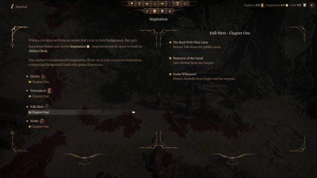 Updated Background Goals Baldur's Gate 3 Patch 6
