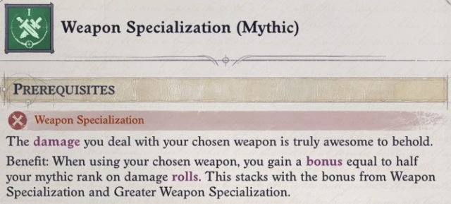 Weapon Specialization (Mythic) Mythic Feat Cult Leader Warpriest Pathfinder Wrath Of The Righteous Build